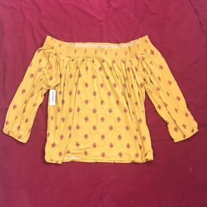 Old Navy - yellow with pink flowers